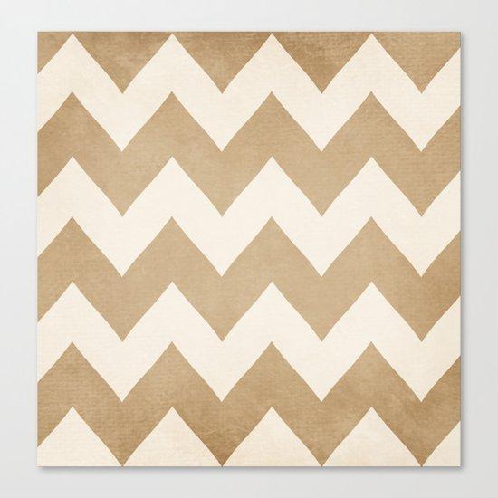 Biscotti & Vanilla - Beige Chevron Canvas Print