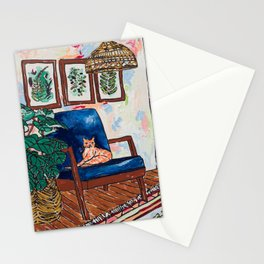 Ginger Cat on Blue Mid Century Chair Painting Stationery Cards