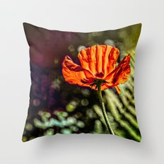 Glowing Poppy  Throw Pillow