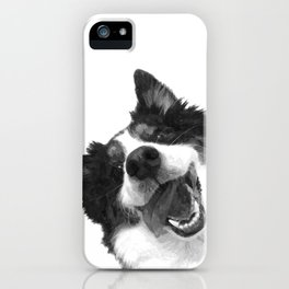 Black and White Happy Dog iPhone Case
