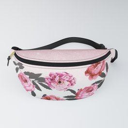 Pink and Red Girly Rose Flowers and Glitter Ombre Fanny Pack