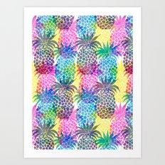 Pineapple CMYK Repeat Art Print