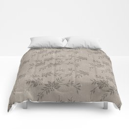 Abstract vintage chic brown cream floral illustration Comforters