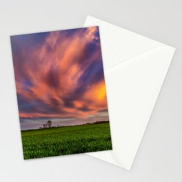 Natural Beauty - Sunlight Illuminates Clouds on Spring Evening in Oklahoma Stationery Cards