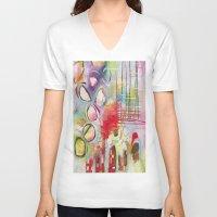 climbing V-neck T-shirts featuring Climbing by Belinda Fireman