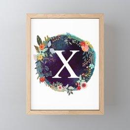Personalized Monogram Initial Letter X Floral Wreath Artwork Framed Mini Art Print