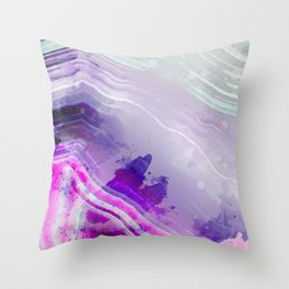 Purple Hue Sliced Agate Stone Rock Geode Throw Pillow