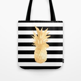 Gold Pineapple Black and White Stripes Tote Bag