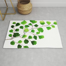 Green watercolor maidenhair fern Rug