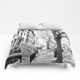 Cobble Hill Brooklyn Winter Black and White Brownstone Comforters