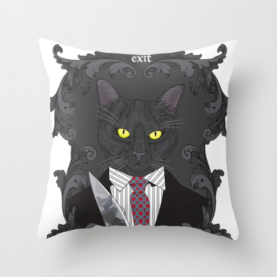 American Psycho Kitty Throw Pillow