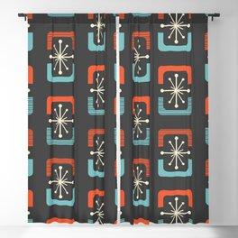 Mid Century Modern Starburst Shells Blue and Orange Blackout Curtain