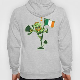 Leprechaun Singing on an Irish Flag Pole Hoody