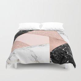 Modern rose gold glitter black white marble geometric color block Duvet Cover