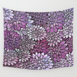 Stain Glass Floral Abstract - Purple-Lavender Wall Tapestry