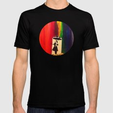 Raining colour  MEDIUM Black Mens Fitted Tee