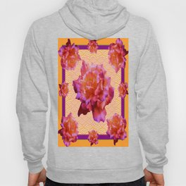 Purple-Golden Antique Style English Roses Pattern  Hoody
