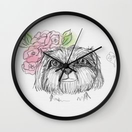 Girly Shih Tzu Wall Clock