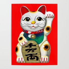 Maneki Neko (Lucky Cat) Red Poster