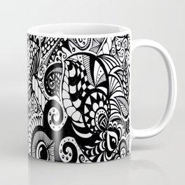 Mushy Madness doodle art Black and White Coffee Mug