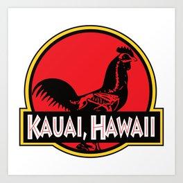 Kauai, Hawaii Jurassic Park Rooster Art Print