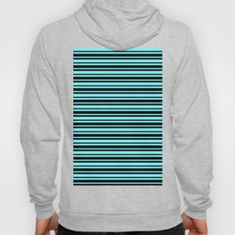 Electric Blue and Black Horizontal Var Size Stripes Hoody