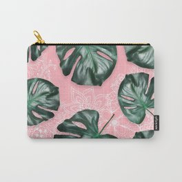 Modern 3d green tropical monstera leaf photo on blush pink white floral illustration Carry-All Pouch