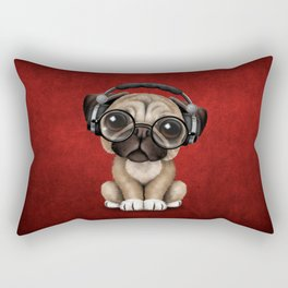 Cute Pug Puppy Dj Wearing Headphones and Glasses on Red Rectangular Pillow
