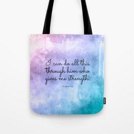 Philippians 4:13, Inspiring Bible Verse Tote Bag