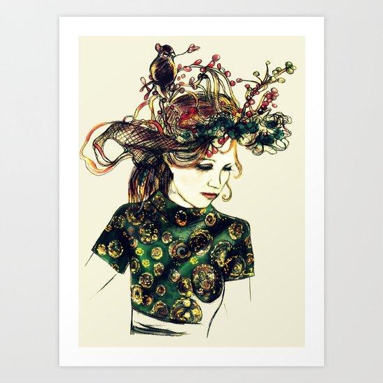 Birds Nest Hat Oriental Dress Girl  Art Print