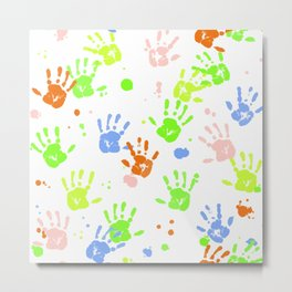 Hand Print Pattern Metal Print