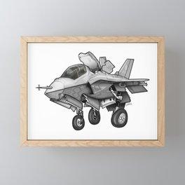 F-35B Lighting II Joint Strike Fighter Cartoon Framed Mini Art Print