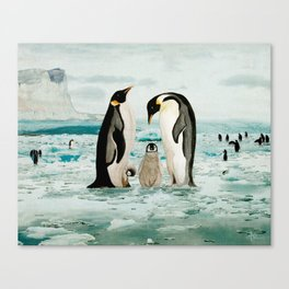 Emperor Penguin Family Canvas Print