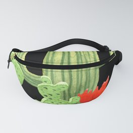 Perfect Cactus Bunch on Black Fanny Pack