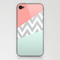 Original Mint & Coral Chevron Block iPhone & iPod Skin
