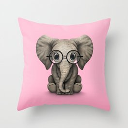 Cute Baby Elephant Calf with Reading Glasses on Pink Throw Pillow