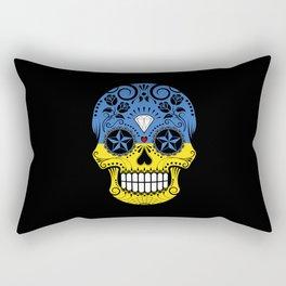 Sugar Skull with Roses and Flag of Ukraine Rectangular Pillow