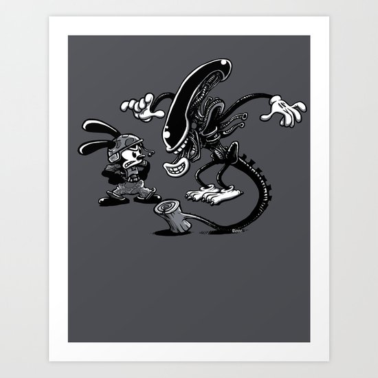 Alien vs Oswald Art Print