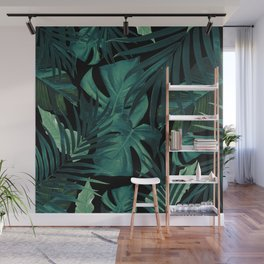 Tropical Jungle Night Leaves Pattern #1 #tropical #decor #art #society6 Wall Mural