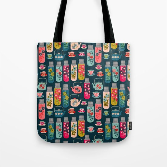 Vintage Thermos - Teacups and Teapots by Andrea Lauren Tote Bag