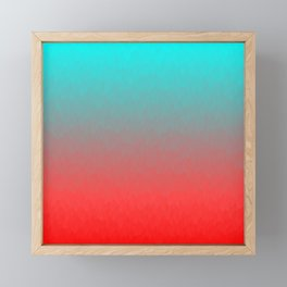 Cyan to red ombre flames Miami Sunset Framed Mini Art Print