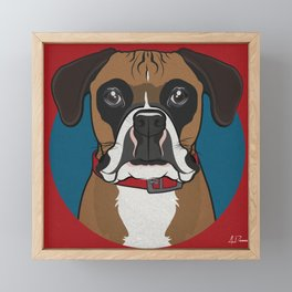 Boxer Art Poster Dog Icon Series by Artist A.Ramos. Designed in Bold Colors. Framed Mini Art Print