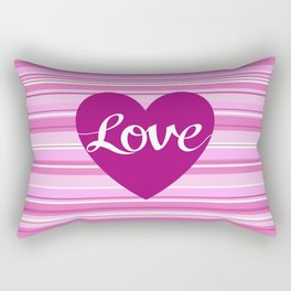 Love Script Heart on Stripes Pinks White Plum Rectangular Pillow