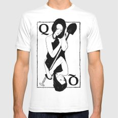 Queen of Spades White Mens Fitted Tee MEDIUM