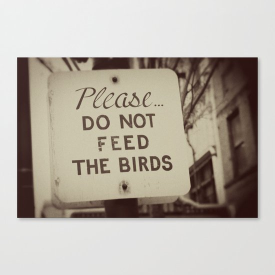 PLEASE do not feed the birds Canvas Print