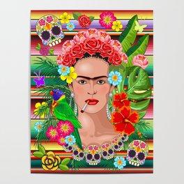 Frida Kahlo Floral Exotic Portrait Poster