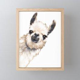 Sneaky Llama White Framed Mini Art Print