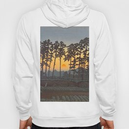 Japanese Woodblock Print Morning Sunrise Farm Tree Silhouette Hoody