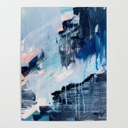 Vibes: an abstract mixed media piece in blues and pinks by Alyssa Hamilton Art Poster