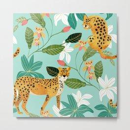 Cheetah Jungle #illustration #pattern Metal Print
